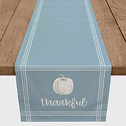 "Designs Direct ""Thankful"" Pumpkin Table Runner in Blue"