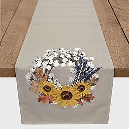 Designs Direct Harvest Wreath Table Runner in Grey