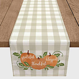 "Designs Direct ""Grateful Thankful Blessed"" Plaid Table Runner in Orange"