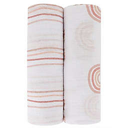 Ely's & Co. 2-Pack Rainbow Cotton Muslin Swaddle Blankets