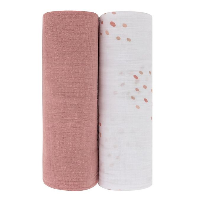 Alternate image 1 for Ely's & Co. 2-Pack Dotties Cotton Muslin Swaddle Blankets in Pink