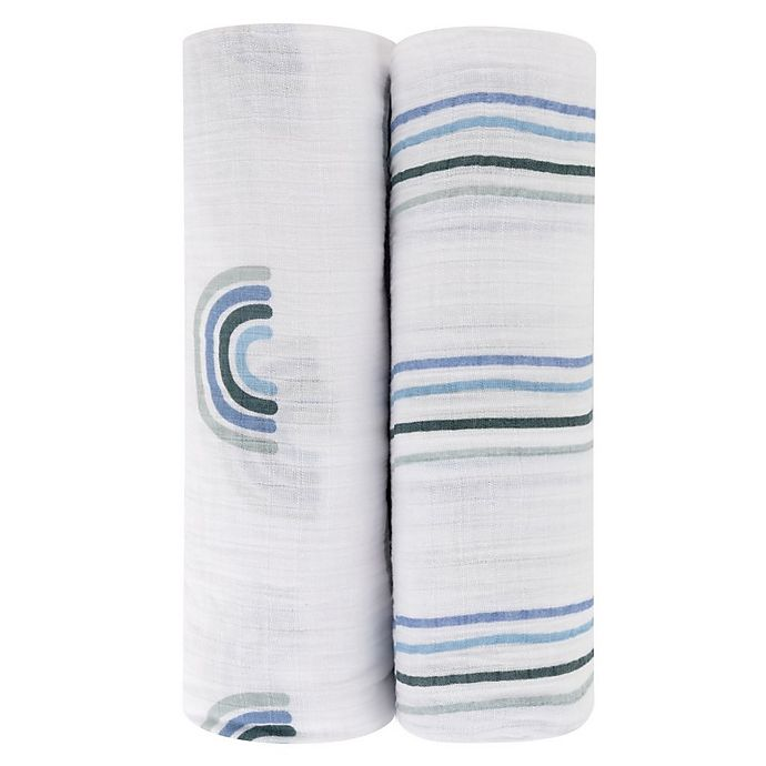 Alternate image 1 for Ely's & Co. 2-Pack Rainbow Cotton Muslin Swaddle Blankets in Blue