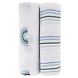Ely's & Co. 2-Pack Rainbow Cotton Muslin Swaddle Blankets in Blue