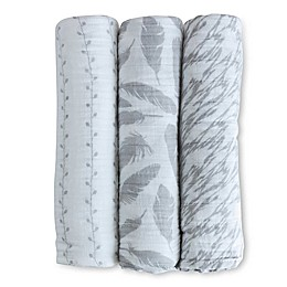 Ely's & Co. 3-Pack Feathers Cotton Muslin Swaddle Blankets in Grey