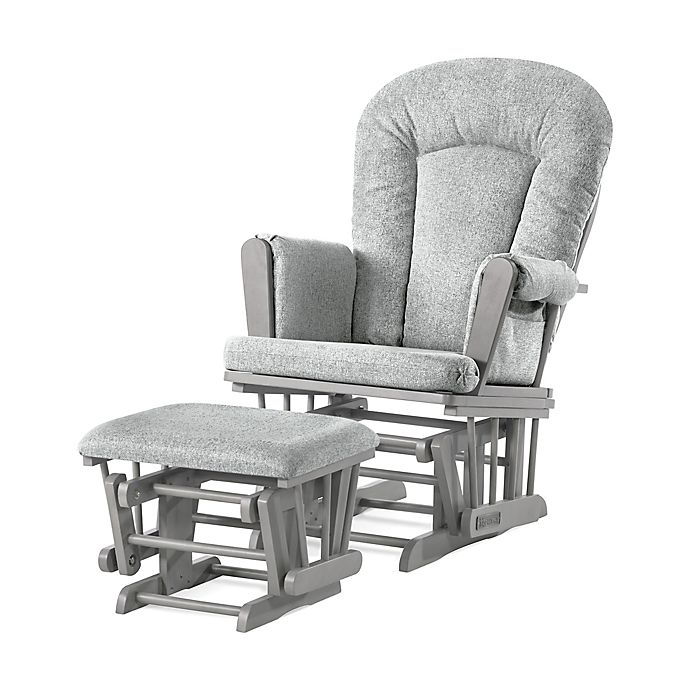 Alternate image 1 for Child Craft™ Forever Eclectic™ Tranquil Glider in Lunar Grey Finish with Ottoman