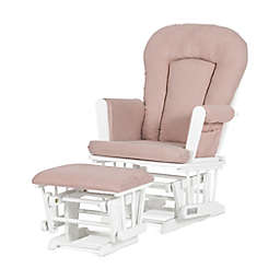 Child Craft™ Forever Eclectic™ Tranquil Glider in Matte White/Blush with Ottoman