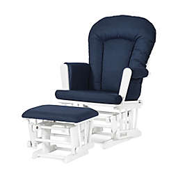 Child Craft™ Forever Eclectic™ Tranquil Glider in Matte White/Navy with Ottoman