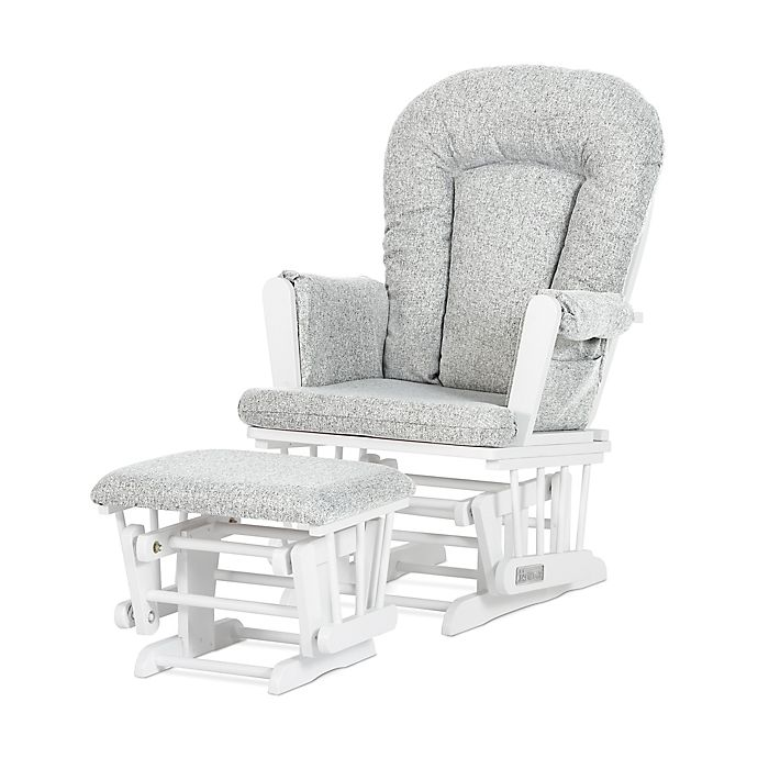 Alternate image 1 for Child Craft™ Forever Eclectic™ Tranquil Glider in Matte White Finish with Ottoman