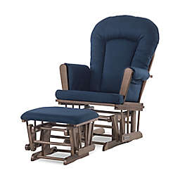 Child Craft™ Forever Eclectic™ Tranquil Glider in Cocoa Bean/Navy with Ottoman