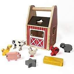 BeginAgain 8-Piece Barnyard Shape Sorter Wooden Playset