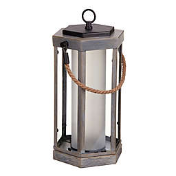 Globe Electric® Aston Battery Operated Outdoor Lantern in Wood