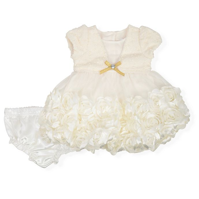 Alternate image 1 for Nannette Baby® 2-Piece Gold Metallic Bow Dress and Diaper Cover Set in Ivory