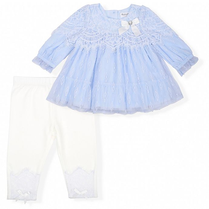 Alternate image 1 for Nanette Baby® 2-Piece Lace Mesh Overlay Top and Legging Set in Blue
