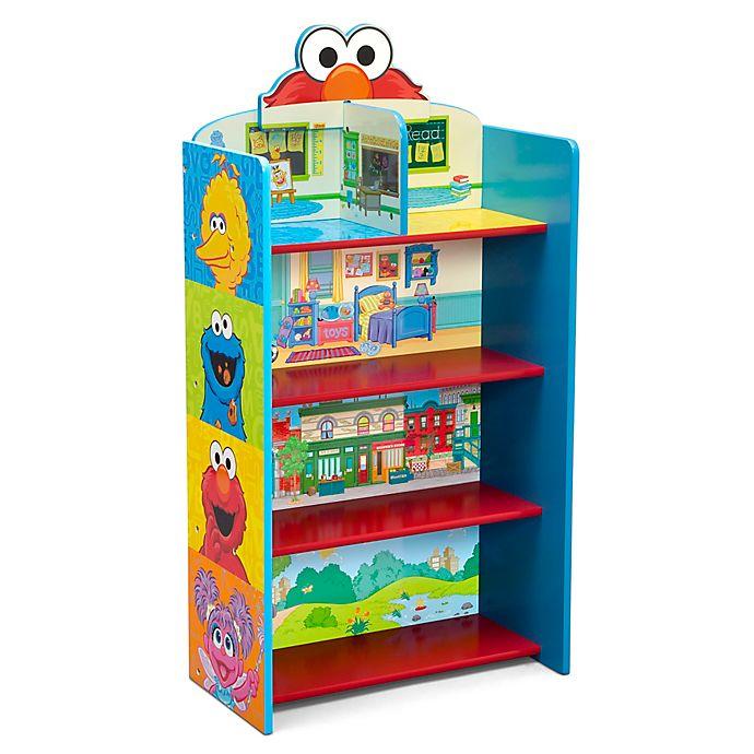 Alternate image 1 for Delta Children Sesame Street Wooden Playhouse 4-Shelf Bookcase