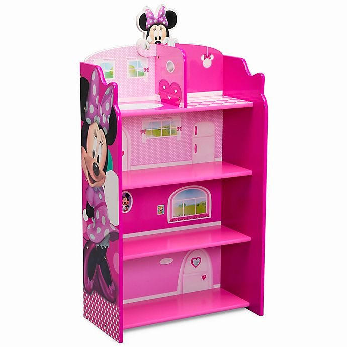 Alternate image 1 for Delta Children Disney® Minnie Mouse Wooden Playhouse 4-Shelf Bookcase in Pink
