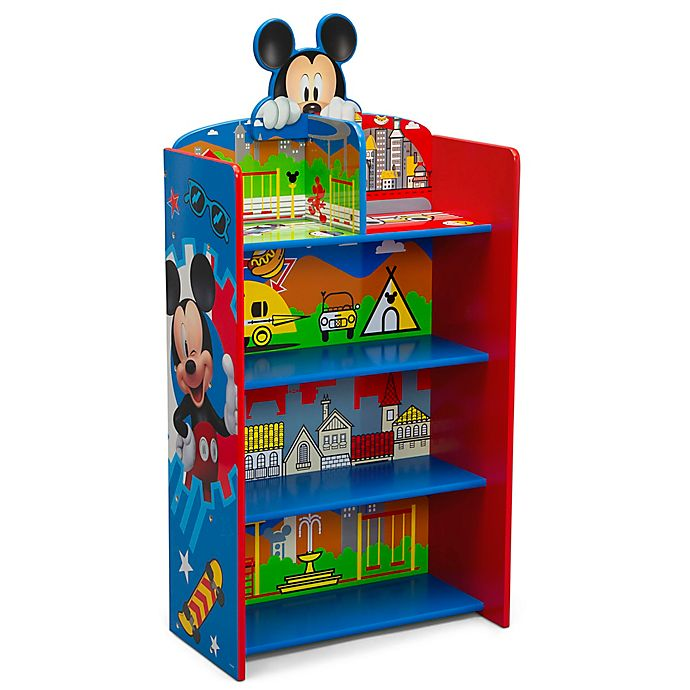 Alternate image 1 for Delta Children Disney® Mickey Mouse Wooden Playhouse 4-Shelf Bookcase in Red