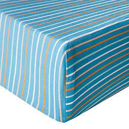 Copper Pearl Milo Premium Knit Fitted Crib Sheet in Blue Stripe