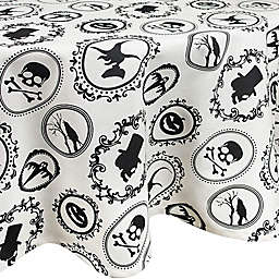 DII® Halloween Portrait 70-Inch Round Tablecloth in Black/White