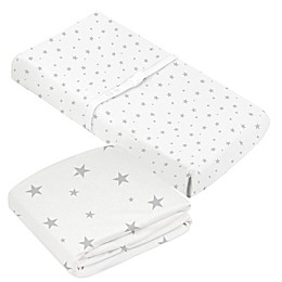 kushies® 2-Piece Stars Organic Crib Sheet & Changing Pad Cover Set in Grey