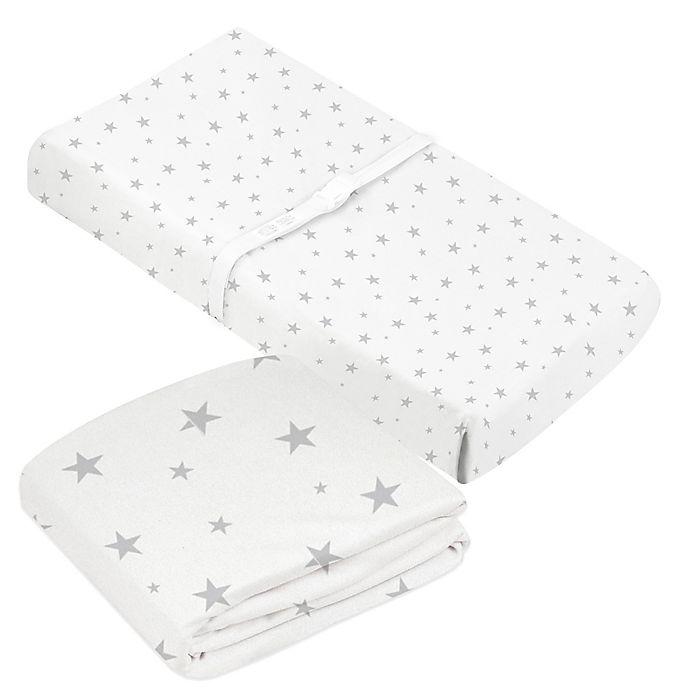 Alternate image 1 for kushies® 2-Piece Stars Organic Crib Sheet & Changing Pad Cover Set in Grey