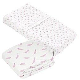 kushies® 2-Piece Printed Feather Crib Sheet and Changing Pad Cover Set in Pink
