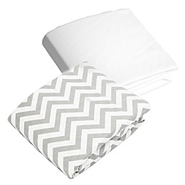 kushies® 2-Pack Chevron and Solid Flannel Crib Sheets in Grey/White