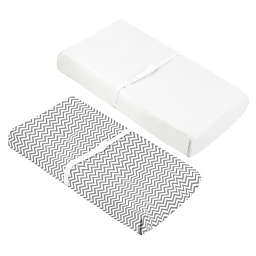 Kushies® 2-Pack Cotton Flannel Changing Pad Covers in Grey Chevron/Solid White