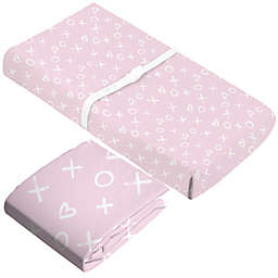 kushies® 2-Piece XO Flannel Crib Sheet and Changing Pad Cover Set in Pink