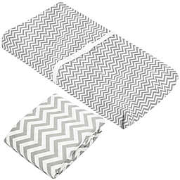 kushies® 2-Piece Chevron Flannel Crib Sheet and Changing Pad Cover Set in Grey