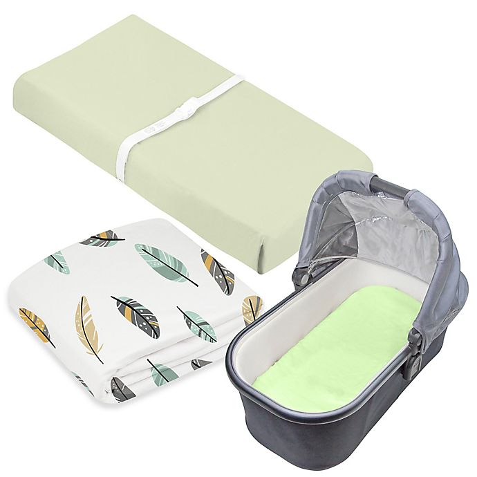 Alternate image 1 for kushies® 3-Piece Feather Crib Sheet, Bassinet Sheet, and Changing Pad Cover Set in Green