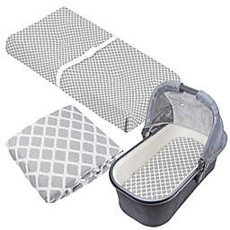 kushies® 3-Piece Lattice Crib Sheet, Bassinet Sheet, and Changing Pad Cover Set in Grey