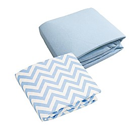 kushies® 2-Pack Chevron and Solid Flannel Crib Sheets in Blue