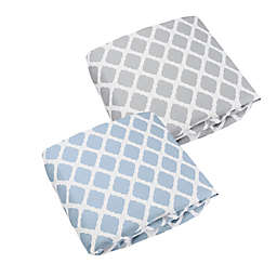 kushies® Lattice Flannel Fitted Crib Sheets in Blue (Set of 2)