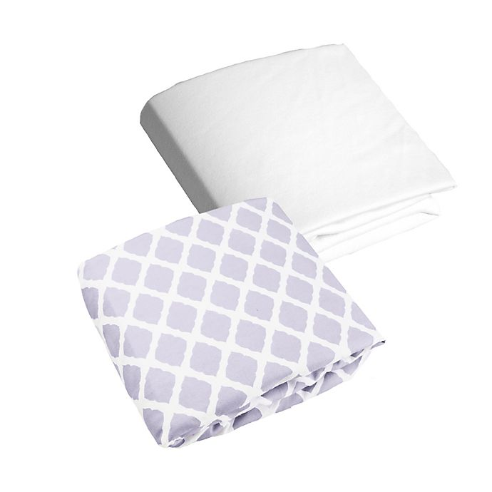 Alternate image 1 for kushies® Lattice Flannel Fitted Crib Sheets (Set of 2)