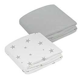 kushies® 2-Pack Stars & Solid Organic Fitted Crib Sheets in Grey