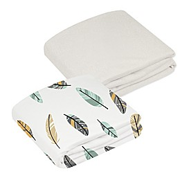 kushies® 2-Pack Feather Pattern & Solid Organic Cotton Crib Sheets in White