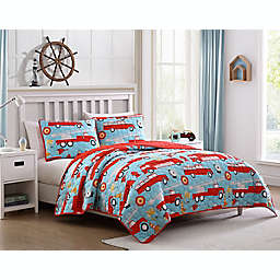 Kute Kids Fire Truck Lane Quilt Set in Red