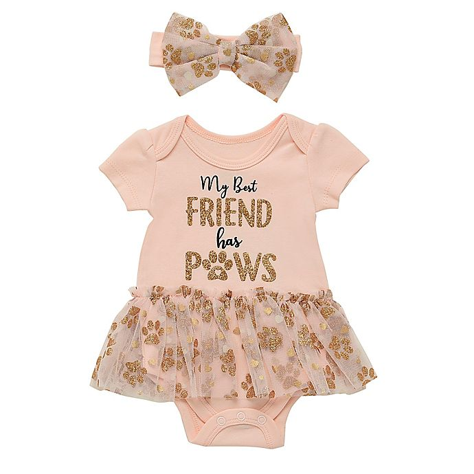 Alternate image 1 for Baby Starters® 2-Piece My Best Friend Bodysuit and Headband Set in Blush