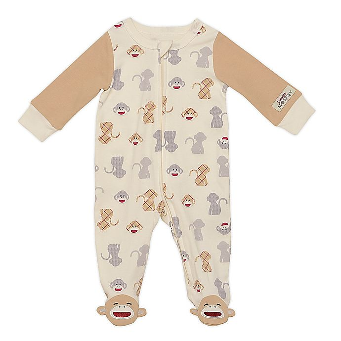 Alternate image 1 for Baby Starters® Sock Monkey Sleep and Play Footie in Tan/Grey