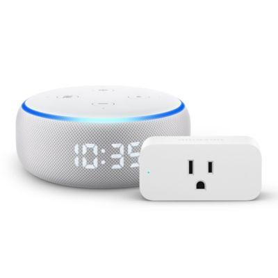 Amazon Echo Dot with Clock + Smart Plug in White