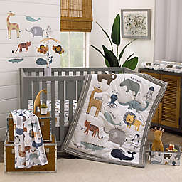 NoJo® Zoo Animals 4-Piece Crib Bedding Set in White/Grey
