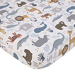 NoJo® Zoo Animals Fitted Crib Sheet in Grey