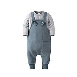 Kidding Around 2-Piece Top and Overall Set in Grey/Green