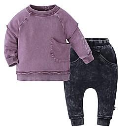 Kidding Around 2-Piece Sweatshirt and Pant Set in Burgundy/Black