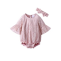 Kidding Around 2-Piece Lace Bubble Romper and Headband Set in Lilac