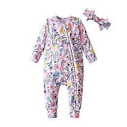 Kidding Around 2-Piece Floral Ruffle Romper and Headband Set in Pink