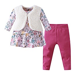 Kidding Around 3-Piece Floral Top, Fur Vest, and Legging Set