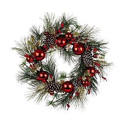 Greenery 24-Inch Berry Holly Pine Cone LED Wreath in Red