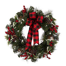 Buffalo Bow 24-Inch Berry Holly Pine Cone Wreath in Red