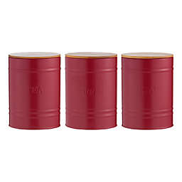 Typhoon Living Essentials 3-Piece Coffee/Tea/Sugar Storage Canister Set in Red